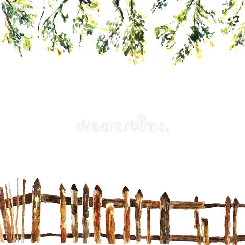 Cadre carré d'aquarelle des brunchs et de la clôture en bois illustration de vecteur