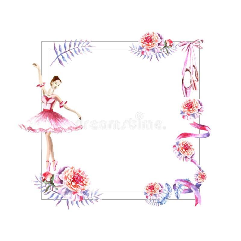 Cadre carré d'aquarelle des plumes, pivoines, brindilles, ruban, ballerine, pointes illustration stock