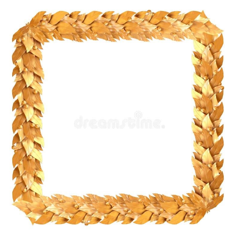 Cadre carré d'or des branches de laurier illustration libre de droits