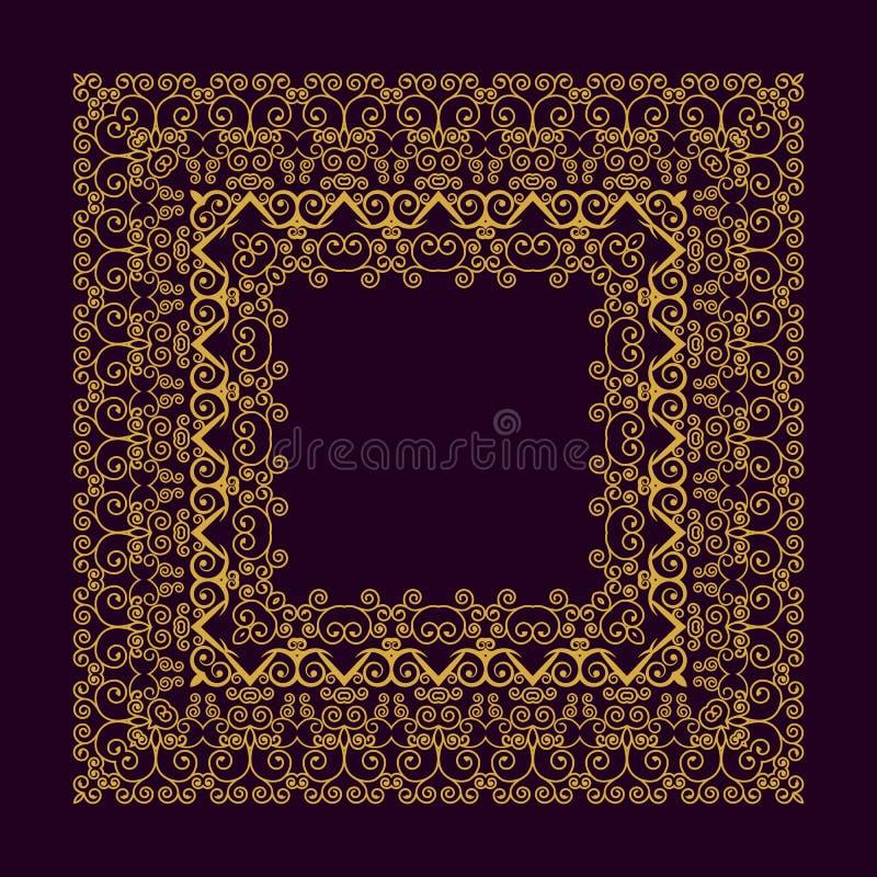 Cadre carré dans la ligne style mono à la mode - élément de conception de monogramme d'art déco dans la couleur d'or et noire illustration stock