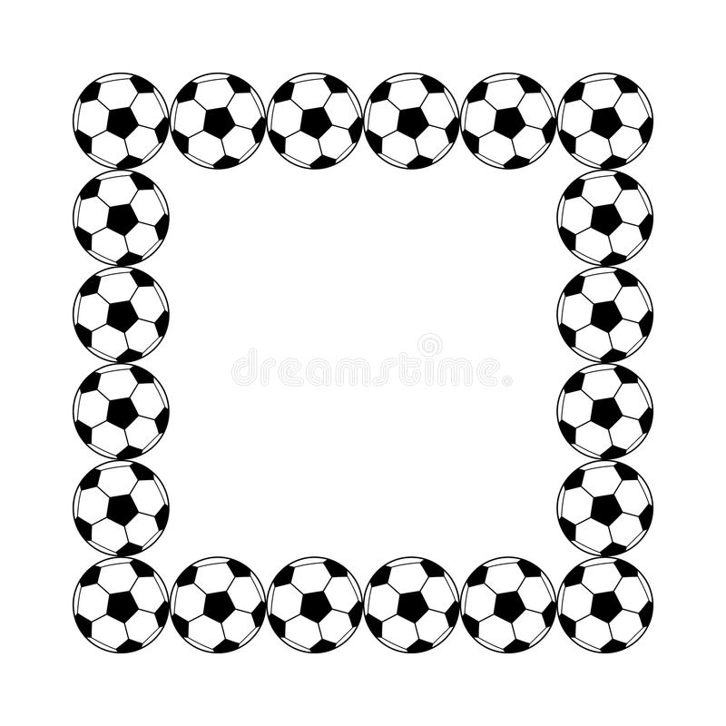 Cadre carré de ballons de football simples noirs et blancs, vecteur illustration de vecteur