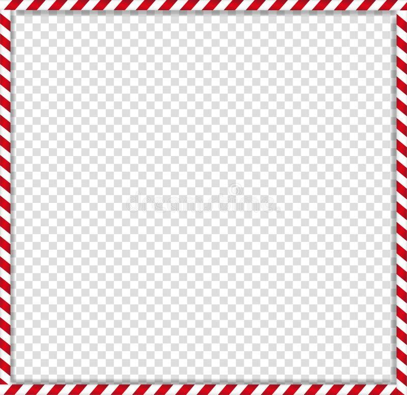 Cadre carré de canne de sucrerie avec le modèle rayé rouge et blanc de lucette sur le fond transparent illustration de vecteur