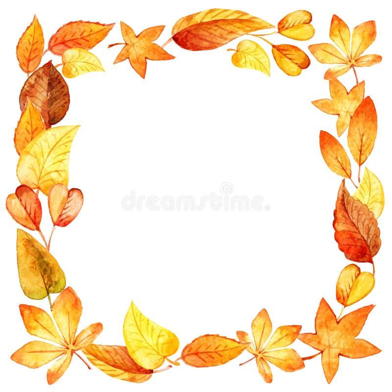 Cadre carré de feuilles d'automne d'aquarelle illustration stock