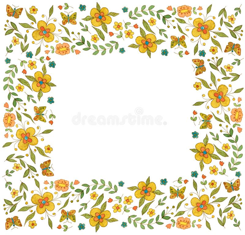 Cadre carré de fleur d'aquarelle sur le fond blanc illustration stock
