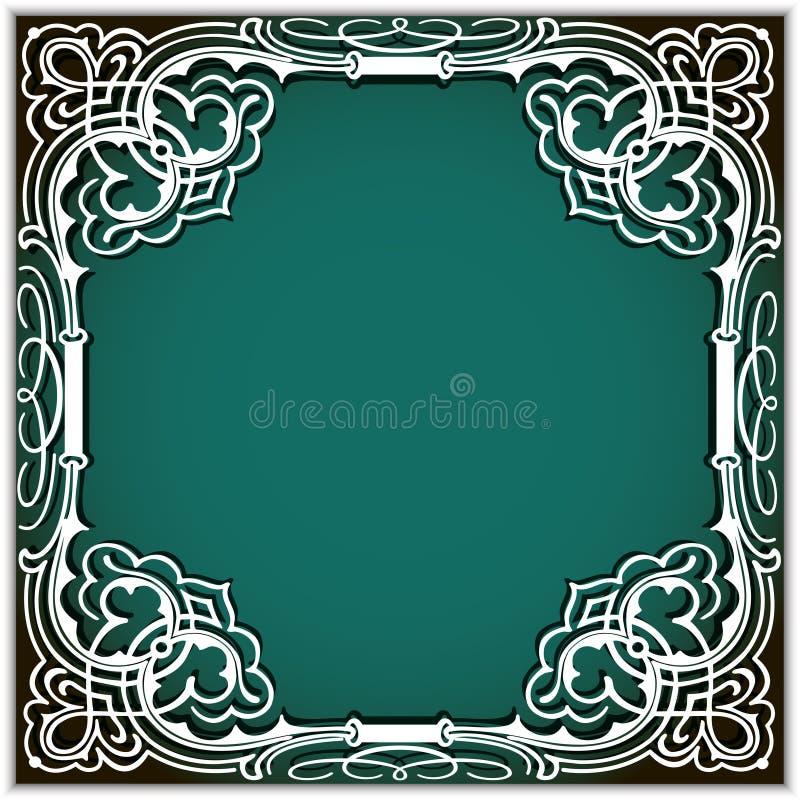 cadre carré de papier de coupe-circuit avec l'ornement de coin de dentelle illustration libre de droits