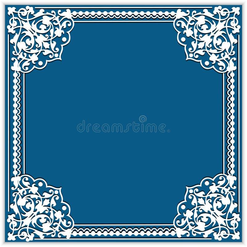 cadre carré de papier de coupe-circuit avec l'ornement de coin de dentelle illustration stock