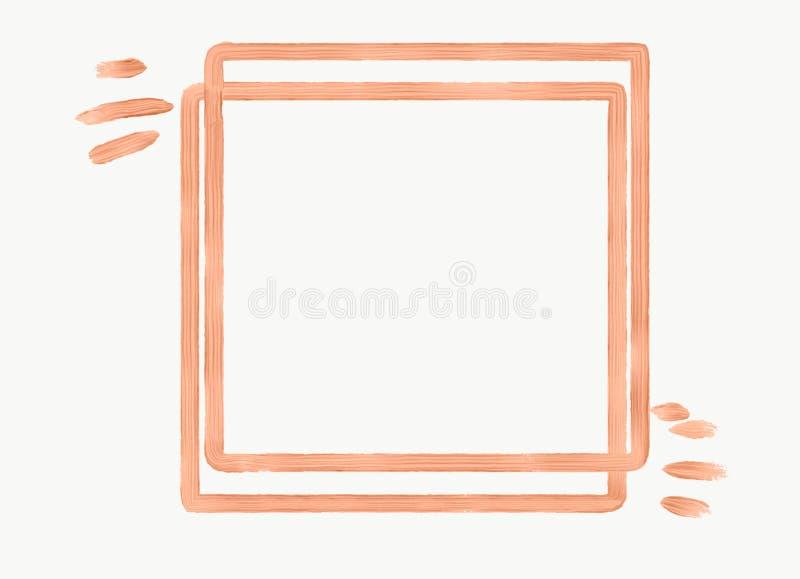 Cadre carré de texture de rose avec des traçages illustration stock