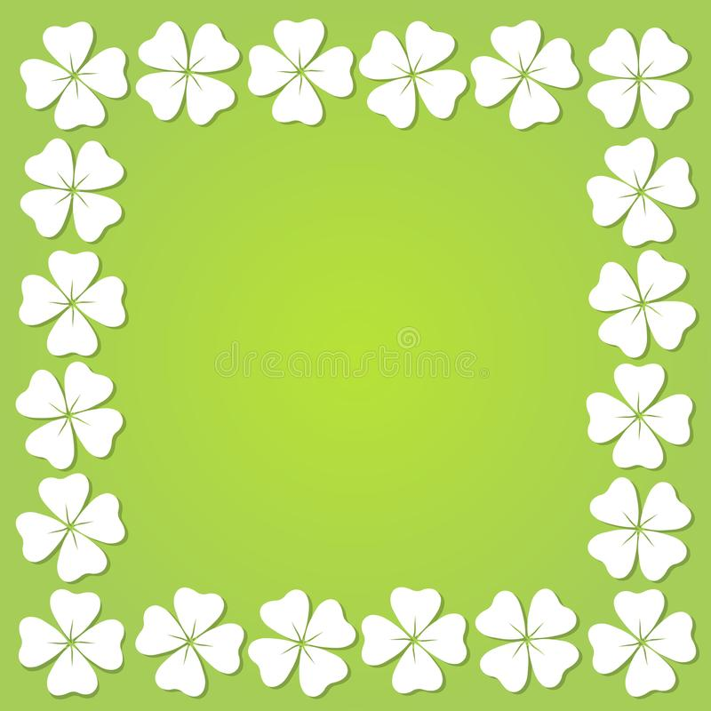 Cadre carré de trèfle à quatre feuilles, illustration de vecteur photos stock