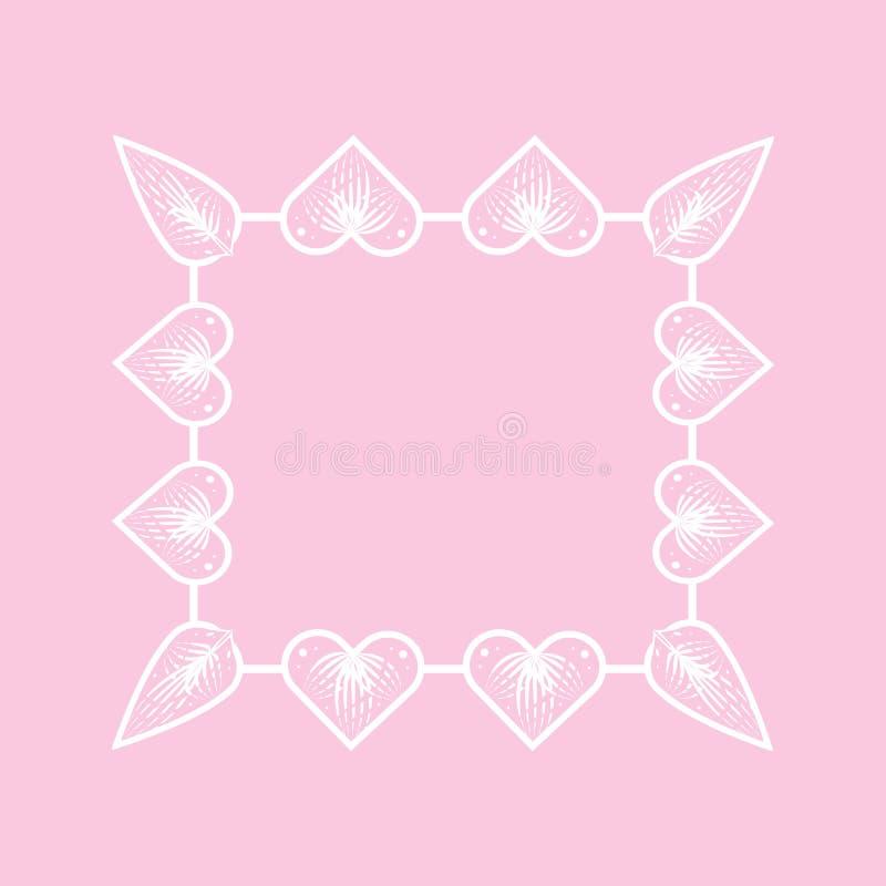 Cadre carré des coeurs Cadre décoratif de Valentine illustration de vecteur