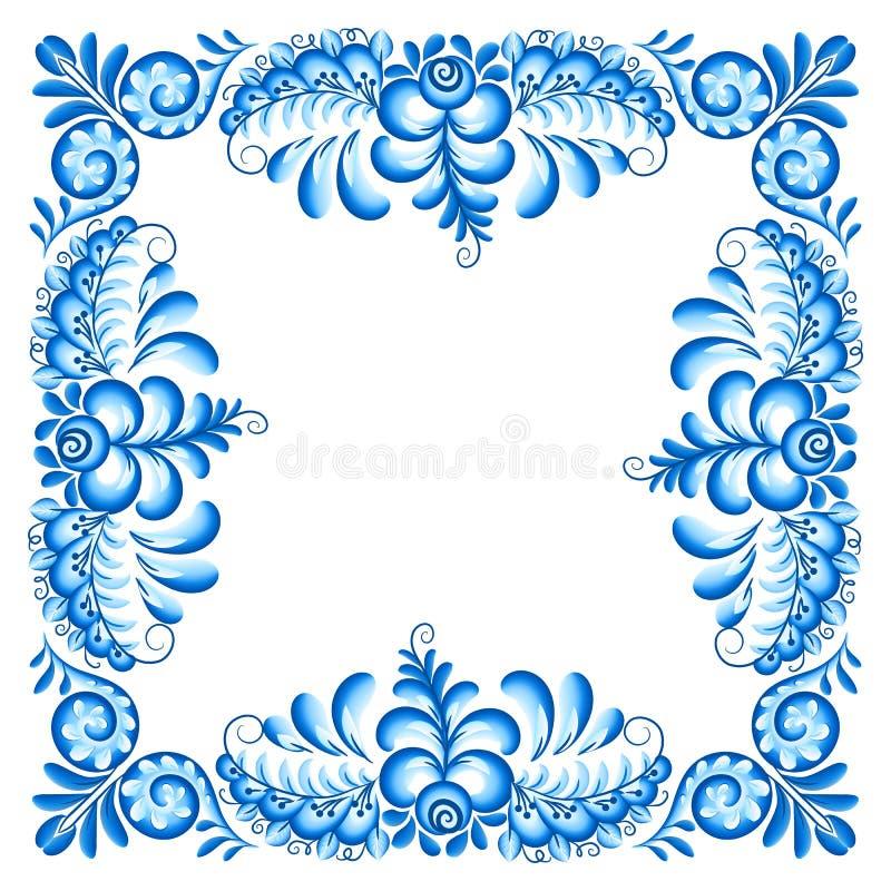 Cadre carré fleuri de vecteur bleu dans le style de Gzhel de Russe illustration de vecteur