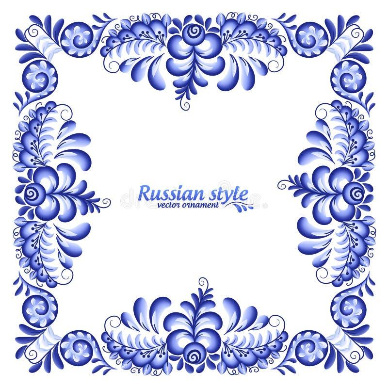 Cadre carré fleuri de vecteur bleu dans le style de Gzhel de Russe illustration stock