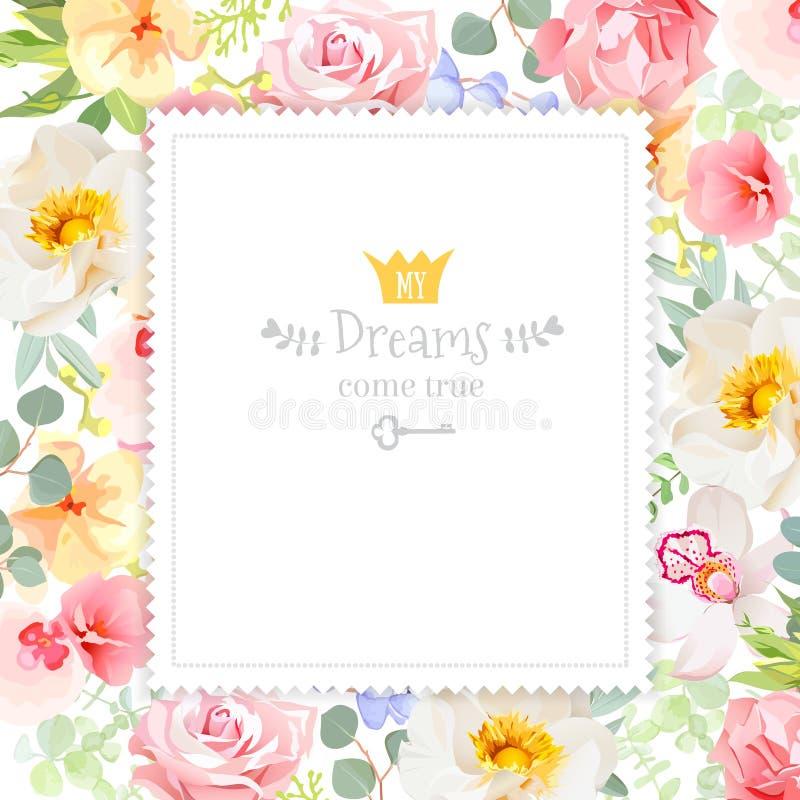 Cadre carré floral de conception de vecteur d'arc-en-ciel L'orchidée, s'est levée, des fleurs d'oeillet et des feuilles lumineuse illustration libre de droits
