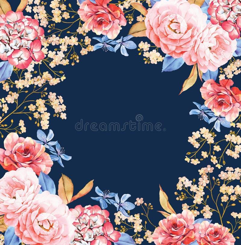 Cadre carré floral de fond sur bleu-foncé Calibre d'invitation illustration libre de droits