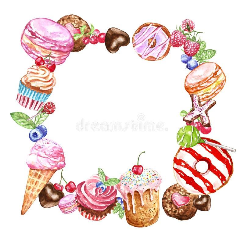 Cadre carré peint à la main de bonbons et de desserts pour la conception de cartes, anniversaire Beignet, macaron, gâteaux, petit illustration libre de droits