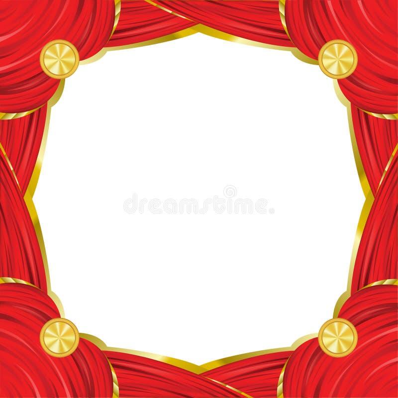 Cadre carré rouge de cru avec l'effet rouge de rideau illustration stock