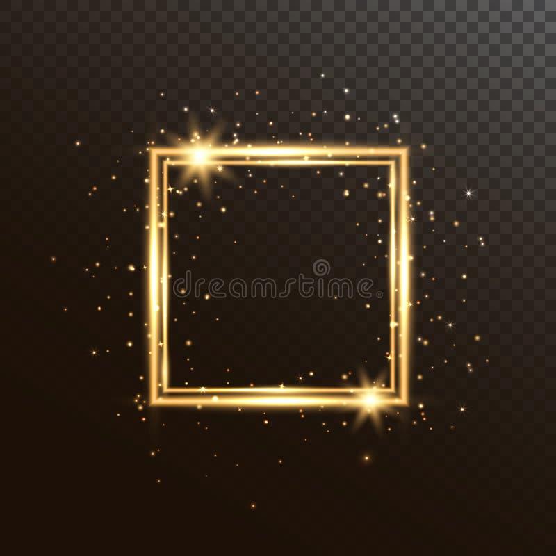 Cadre carré rougeoyant avec l'étincelle et les étoiles de scintillement Fond brillant de Noël Cadre de luxe d'or d'isolement dess illustration de vecteur