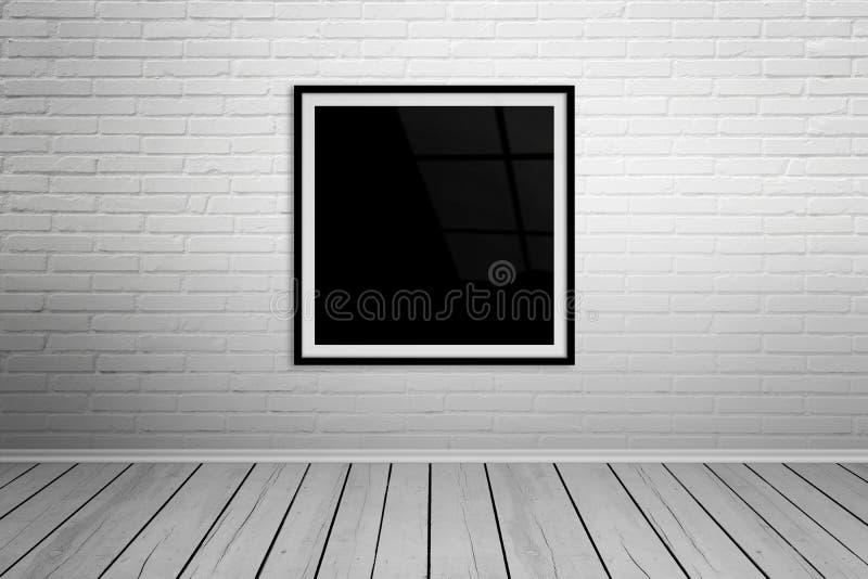 Cadre carré sur la maquette de mur de briques image stock