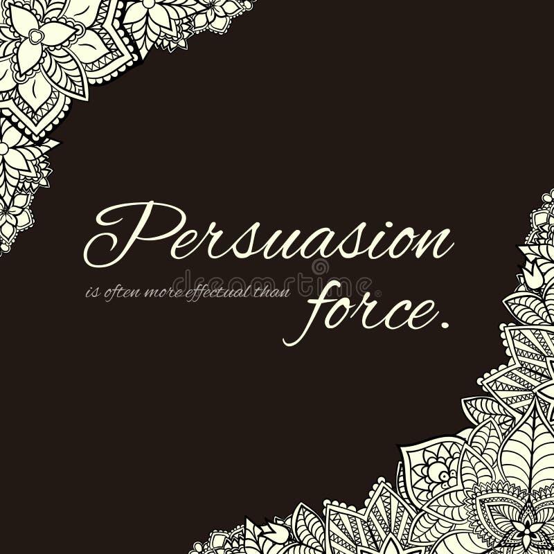Cadre carré tiré par la main noir et blanc fait avec des fleurs Fond de conception florale?, contexte, conception de l'illustrati illustration stock