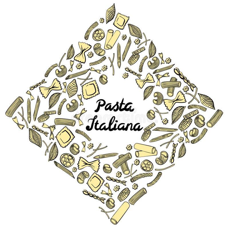 Cadre carr? avec les macaronis italiens de diff?rentes sortes Aspiration colorée de main sur le fond blanc illustration stock