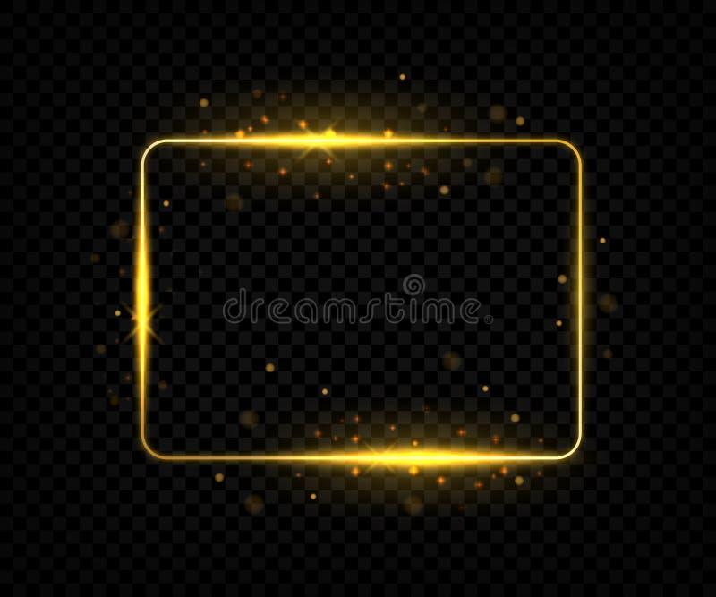 Cadre carr? d'or Lignes de frontière brillantes avec des fusées et étincelles, forme jaune de rectangle avec l'effet rougeoyant V illustration libre de droits