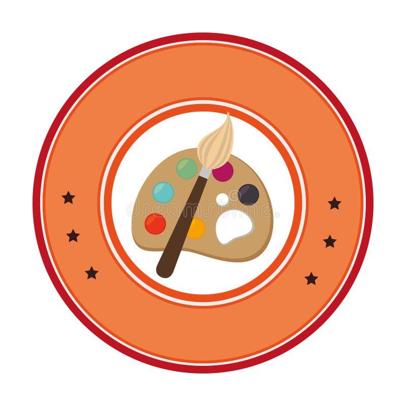 Cadre circulaire avec la palette d'art avec des peintures et des brosses illustration de vecteur