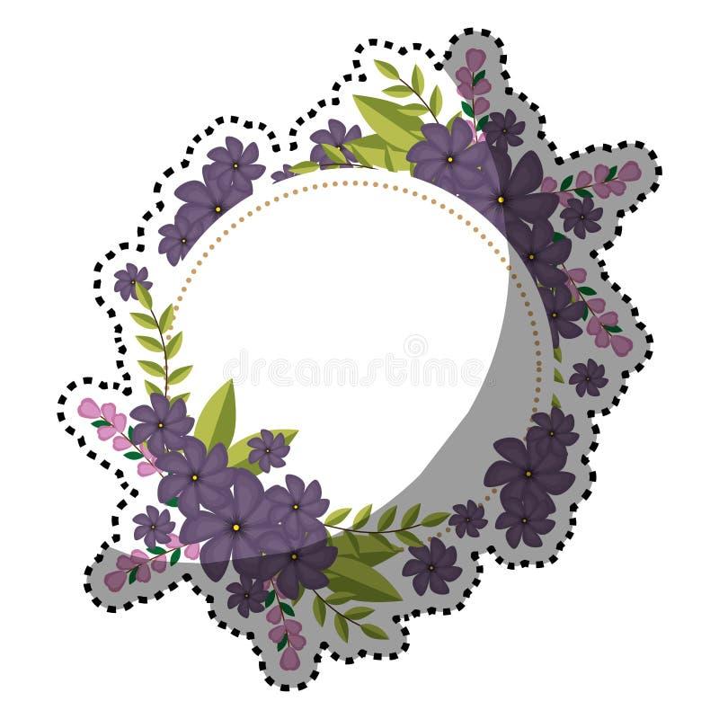 Cadre circulaire d'autocollant avec le bouquet floral et les feuilles violets illustration libre de droits