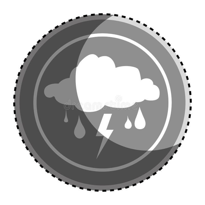 Cadre circulaire monochrome d'autocollant avec l'icône de temps de tempête de pluie de silhouette illustration de vecteur