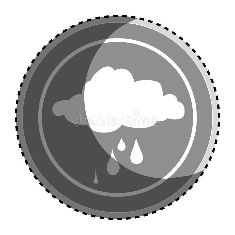 Cadre circulaire monochrome d'autocollant avec l'icône pluvieuse de nuage de silhouette illustration de vecteur