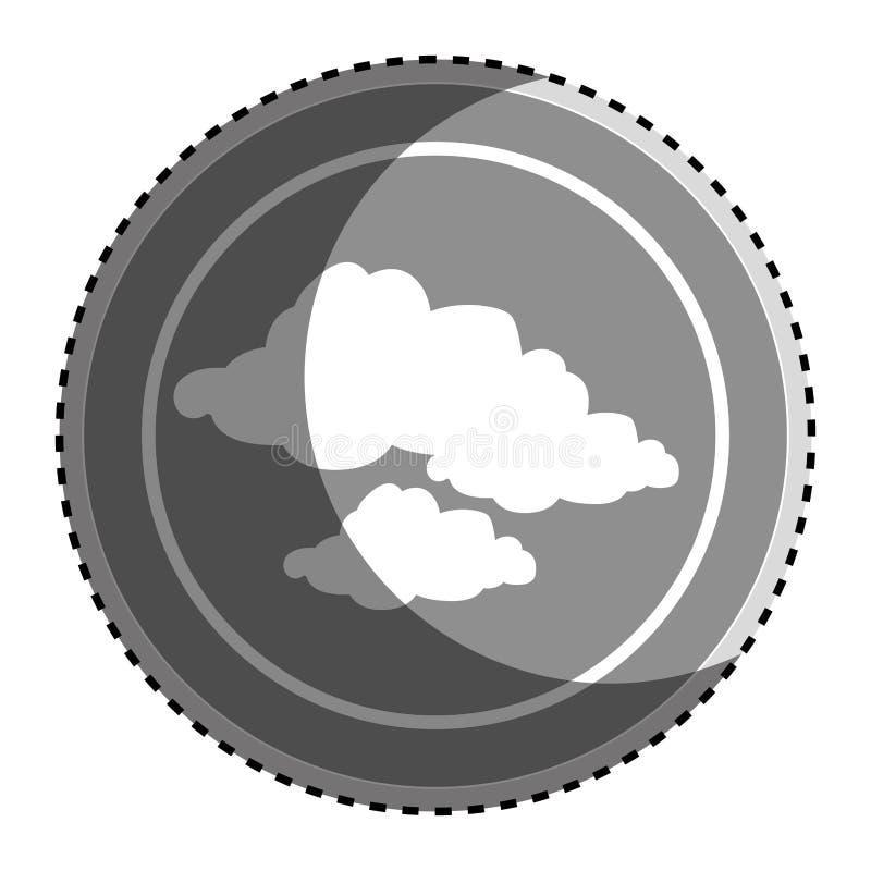 Cadre circulaire monochrome d'autocollant avec l'icône réglée de nuages de silhouette illustration libre de droits