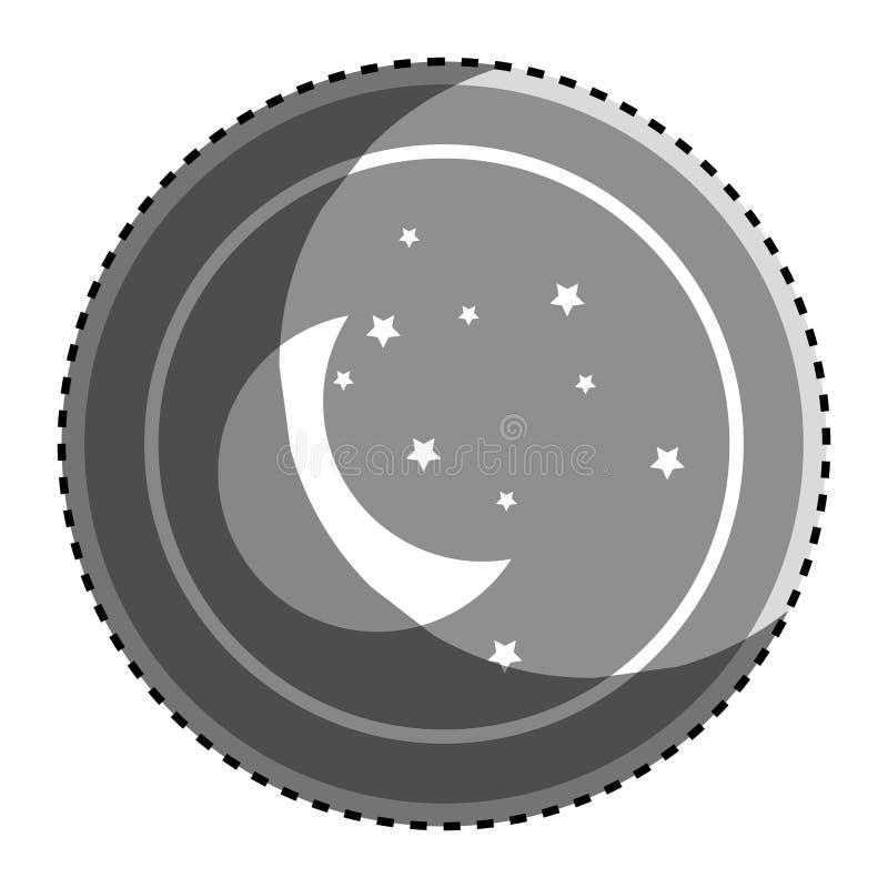 Cadre circulaire monochrome d'autocollant avec la lune de silhouette et l'icône d'étoiles illustration de vecteur