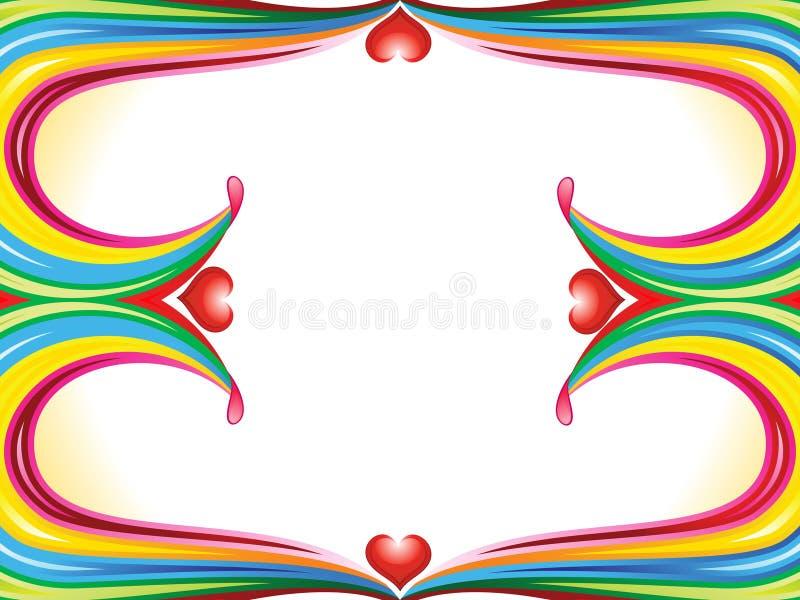 Cadre coloré abstrait d'onde d'arc-en-ciel avec le coeur illustration de vecteur