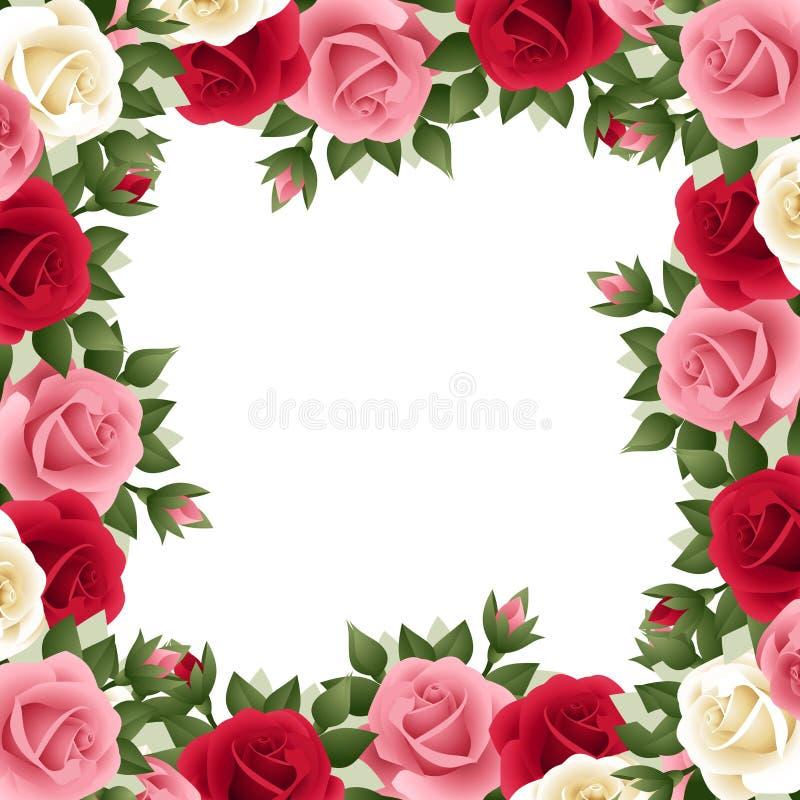 Cadre coloré de roses. illustration stock