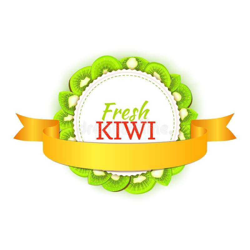 Cadre coloré rond composé de ruban délicieux de kiwis et d'or illustration de vecteur