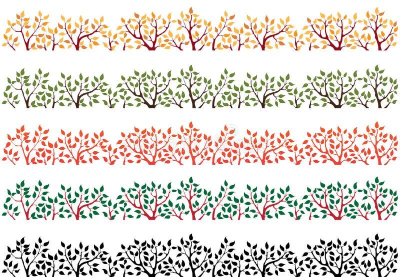 Cadre contenant la silhouette du dessus d'arbre illustration libre de droits