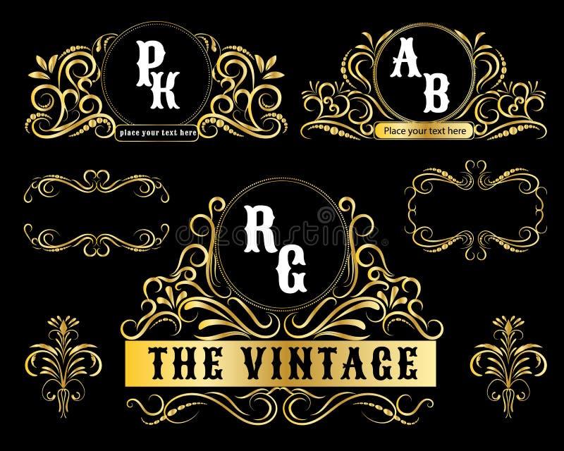 Cadre décoratif d'or de vecteur de calibres de logo de vintage illustration de vecteur