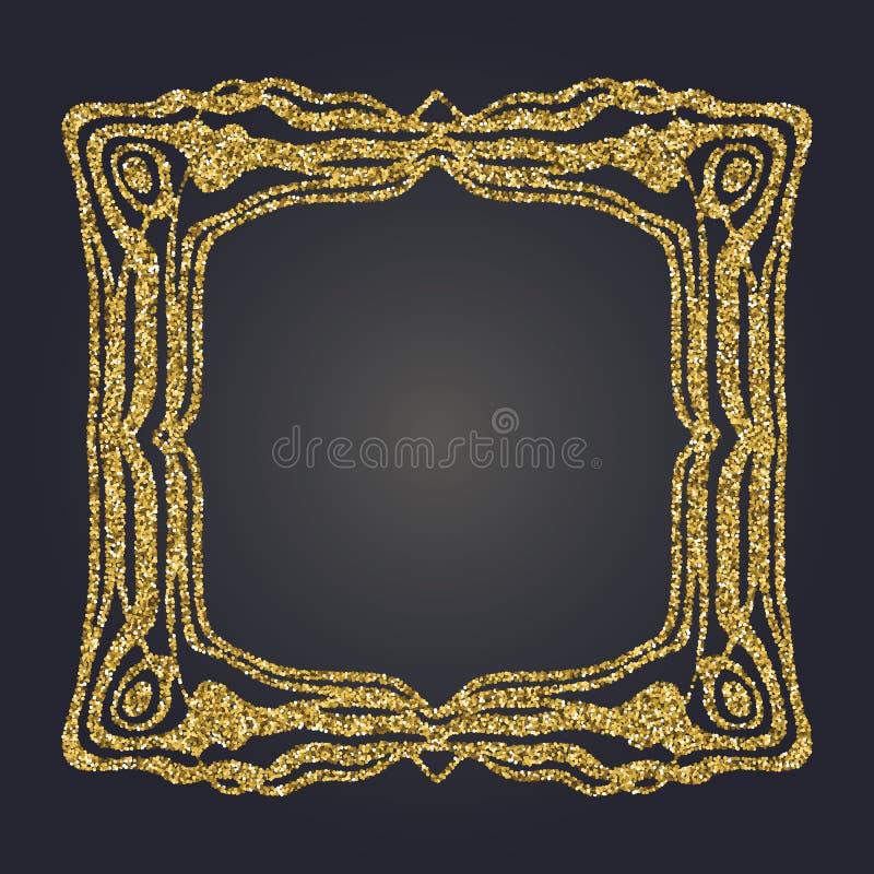 Cadre décoratif de vecteur de rectangle de scintillement d'or d'Art Nouveau pour la conception Art Deco Style Border illustration libre de droits