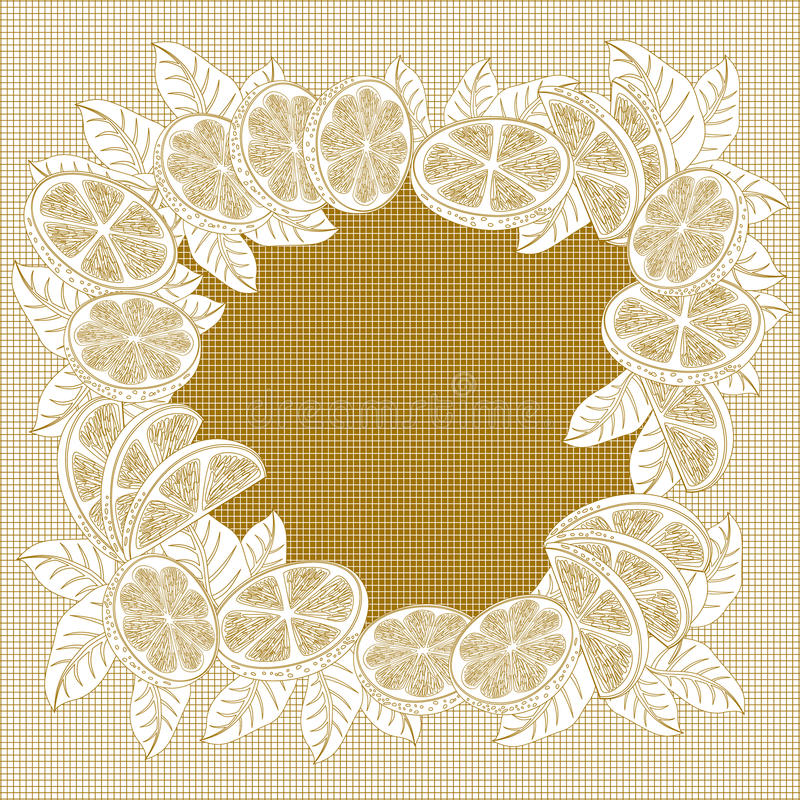Cadre décoratif de vintage des oranges illustration stock