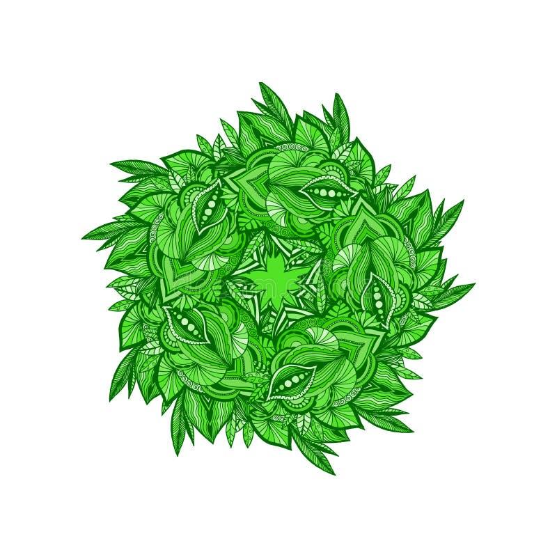 Cadre décoratif des éléments de fines herbes verts Élément coloré de conception pour l'autocollant, album, cartes illustration stock