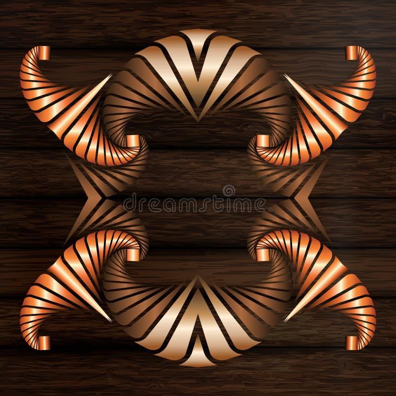 Cadre décoratif des éléments en bronze et de cuivre légers et foncés sur la surface en bois de brun foncé illustration stock