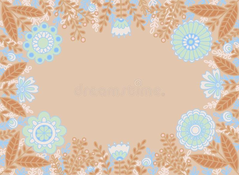 Cadre décoratif des fleurs bleues et des feuilles brunes sur un fond beige clair illustration de vecteur