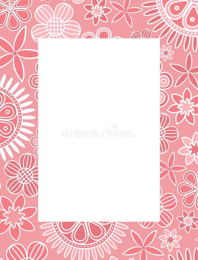 Cadre décoratif floral rose illustration de vecteur