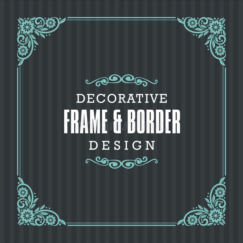 Cadre décoratif, frontière avec la ligne style ornementale illustration de vecteur