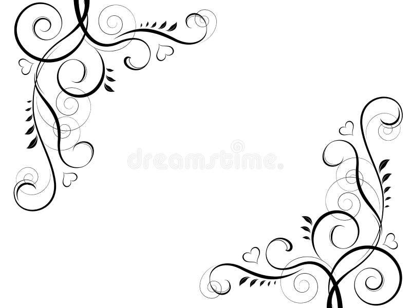 Cadre décoratif noir floral abstrait d'élément illustration de vecteur