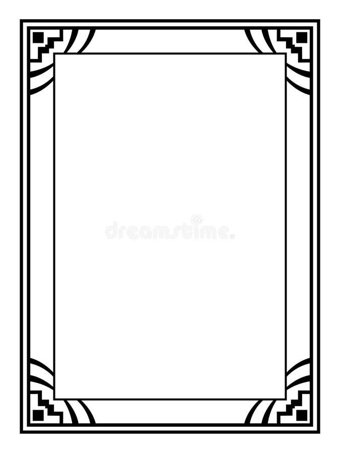 Cadre décoratif ornemental noir d'Art Deco illustration stock