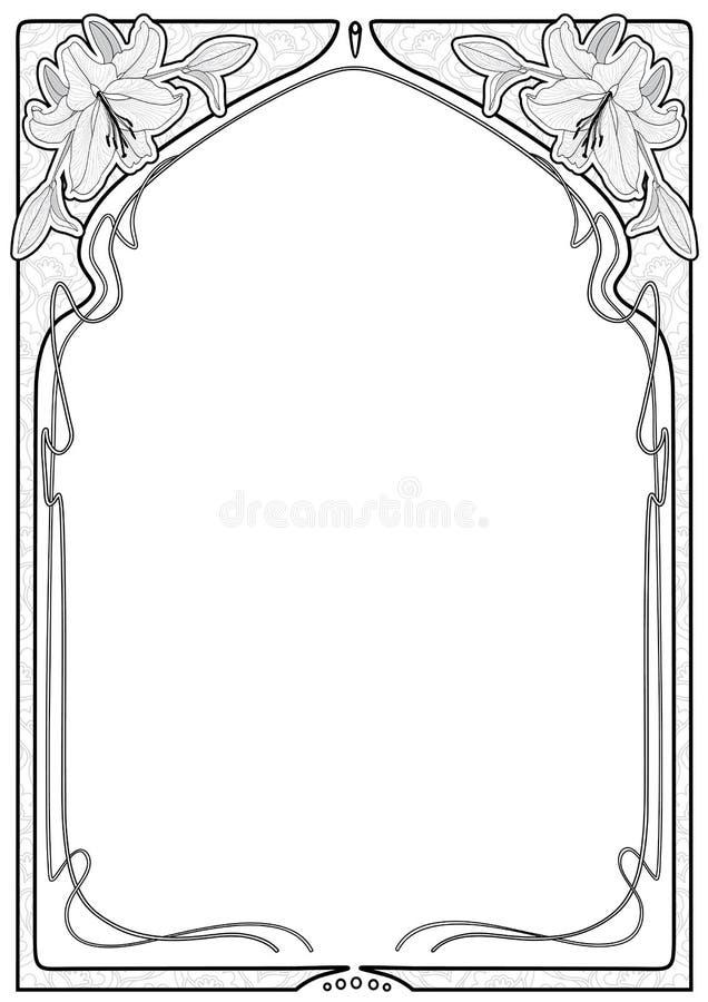Cadre décoratif rectangulaire avec l'ornement d'Art nouveau illustration stock