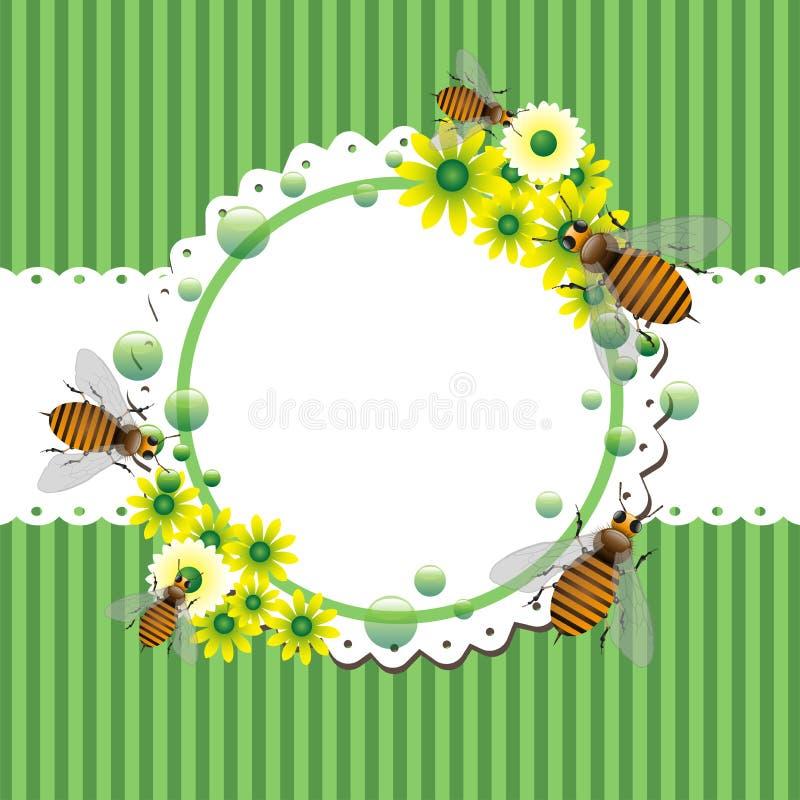 Cadre d'été avec des abeilles et des fleurs illustration de vecteur
