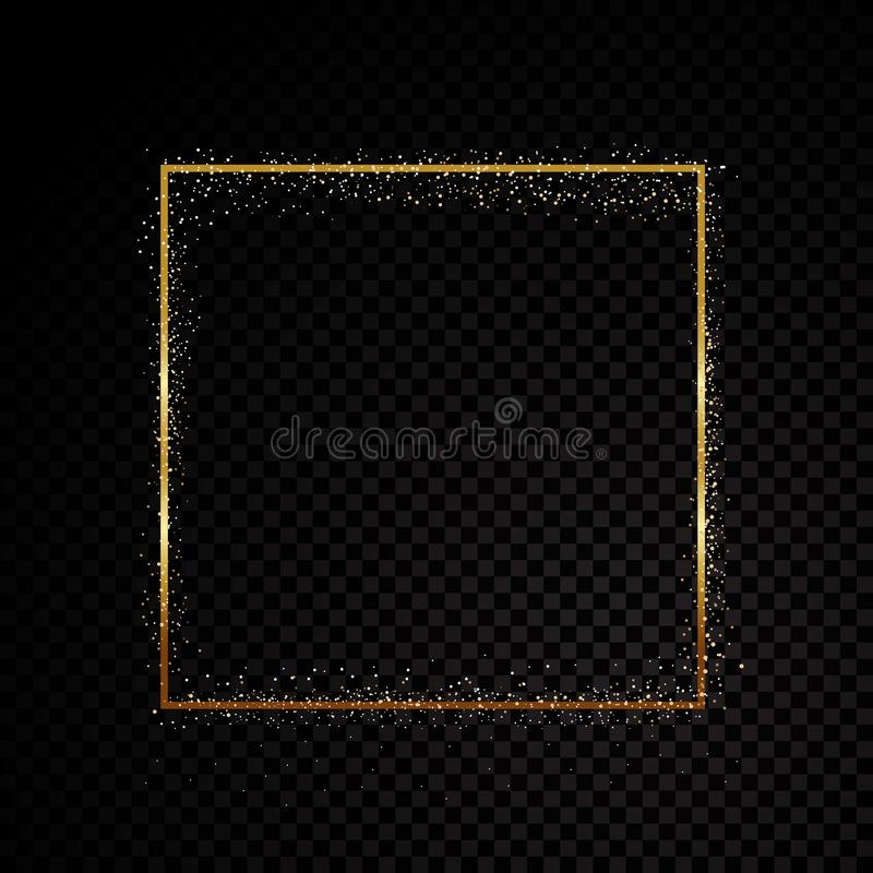 Cadre d'or d'étincelle de rectangle D'isolement sur le fond transparent noir Illustration de vecteur illustration stock