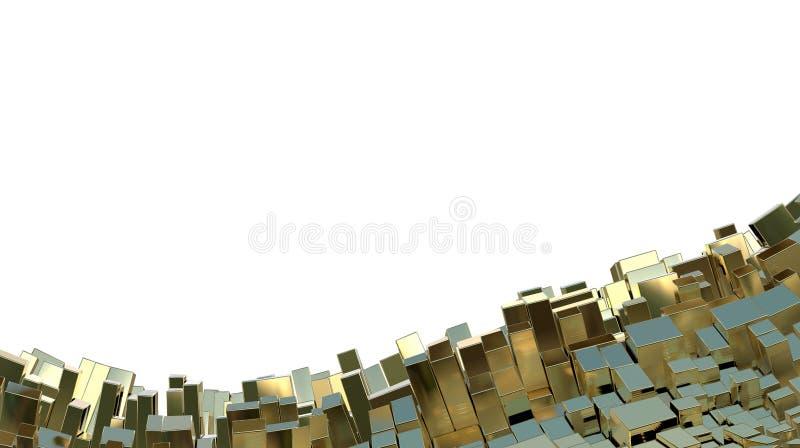 Cadre d'or abstrait fait en fond de cubes dans le ton jaune fond de paysage du résumé 3d Copyspace pour votre conception et tex illustration libre de droits