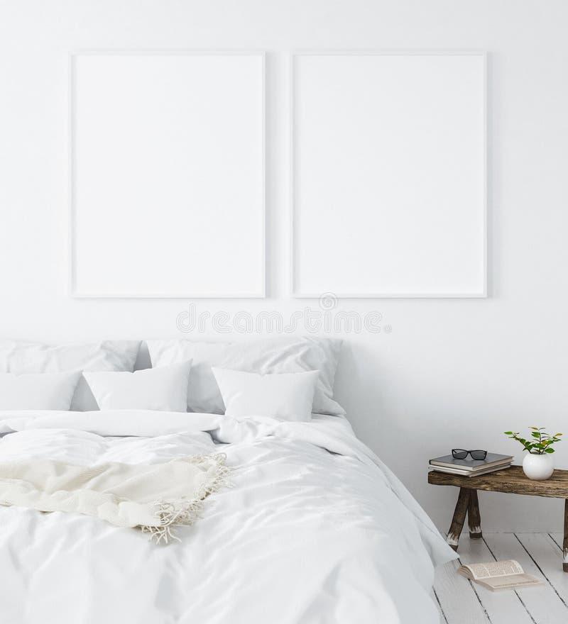Cadre d'affiche de maquette dans la chambre à coucher, style scandinave illustration stock