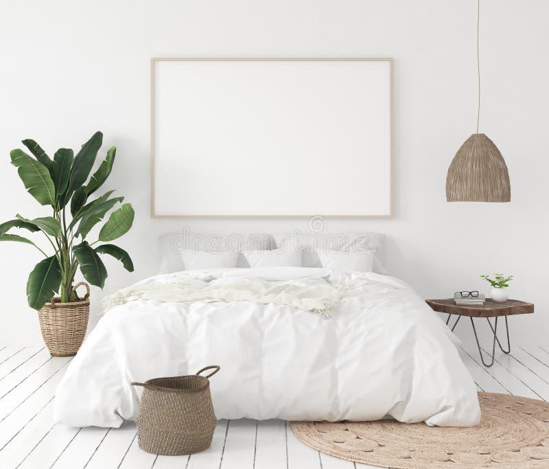 Cadre d'affiche de maquette dans la chambre à coucher, style scandinave illustration libre de droits